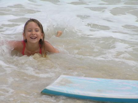 Rhiannon surfing