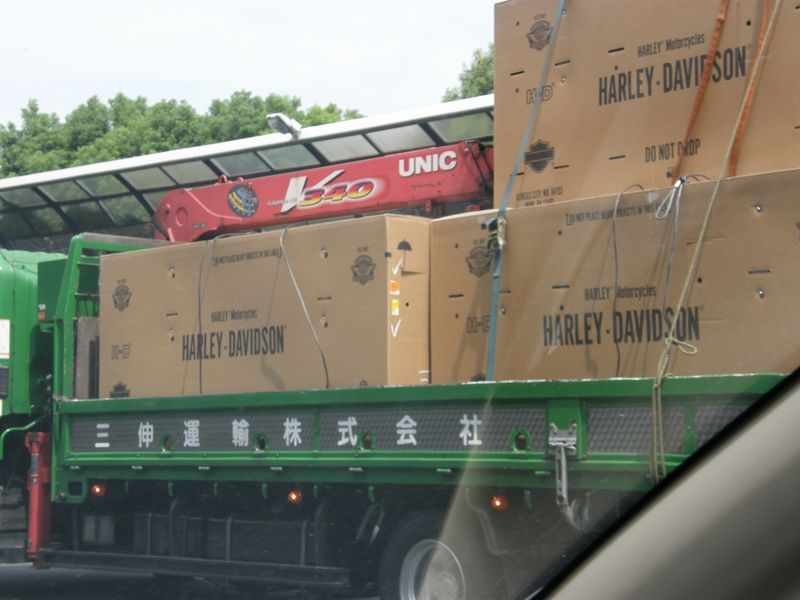 Harleys on a lorry