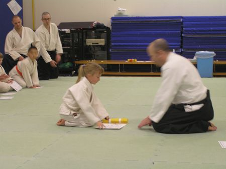 Receiving yellow belt