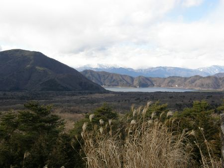 Mountains, lake & Susuki grass