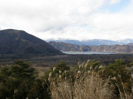 Mountains, lake & Susuki grass