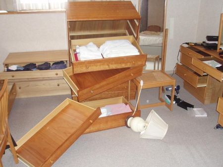 Bedroom after quake