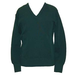 Bottle green v-necked jumper
