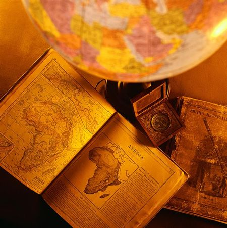 Globe and map of Africa